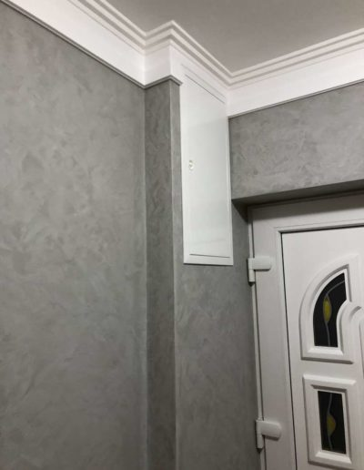 Cementový povrch pandomo s jemným dekorem šedivý dům Česká Lípa pohled na vstupní dveře