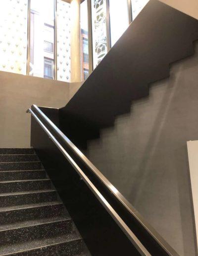 Cementový povrch Facebeton, omyvatelná úprava, pohled na schody lázeňský dům Teplice